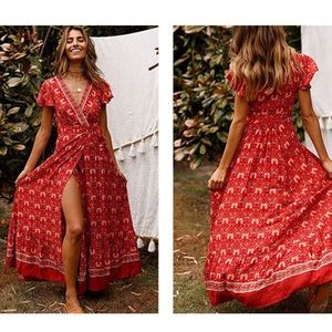 Dresses & Skirts - Red boho maxi belted dress